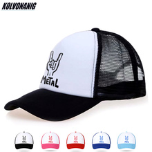 KOLVONANIG Summer Women&Men Breathable Mesh Caps Heavy Metal Rock Print Baseball Cap Cotton Hip Hop Unisex Snapback Trucker Hats x large summer male female trucker hats outdoor casual hip hop street mesh hat sport cap unisex print baseball caps