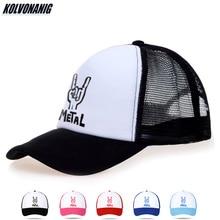 KOLVONANIG Summer Women&Men Breathable Mesh Caps Heavy Metal Rock Print Baseball Cap Cotton Hip Hop Unisex Snapback Trucker Hats