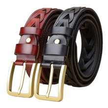 Western Hollow Out Design Genuine Leather Copper Men Belt Fashion Hand Brided Jeans Causal