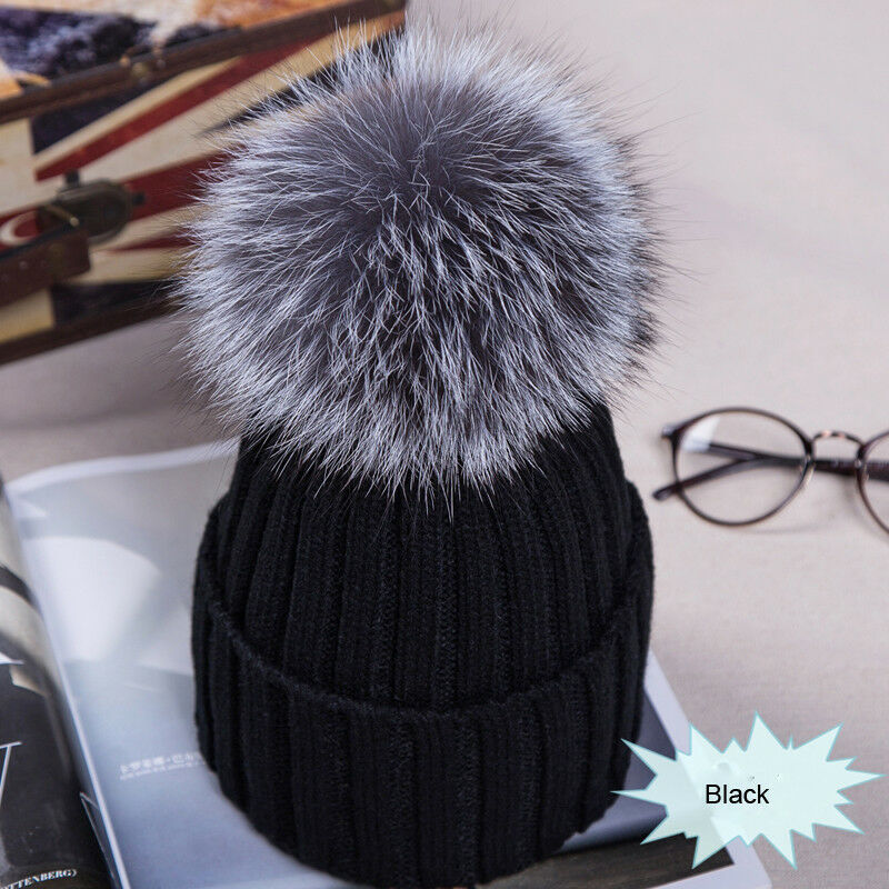 Winter NEW Women Pom Pom Beanies Warm Knitted Bobble Girl Fur Pompom Hats Real Raccoon Fur Pompon Casual Hat Cap 2