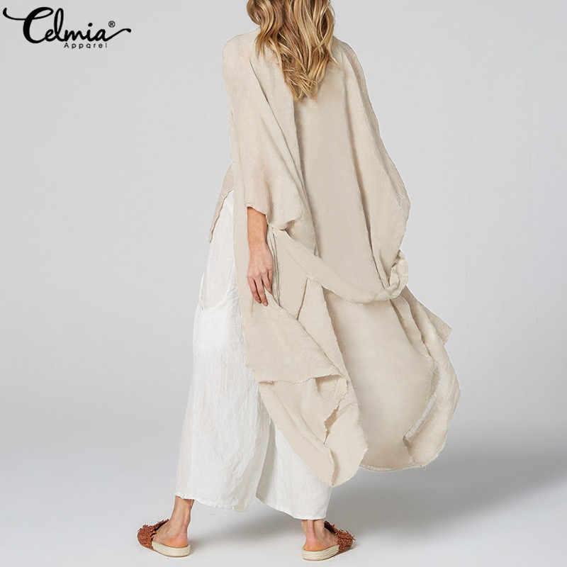 Celmia camisas Vintage de gran tamaño para mujer Kimono largo cárdigan Blusa con cinturón Casual suelto playa cubrir Blusas femeninas camisetas S-5XL