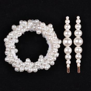 14 Colors Woman Elegant Pearl Hair Ties Beads Girls Scrunchies Rubber Bands Ponytail Holders Hair Accessories Elastic Hair Band 32