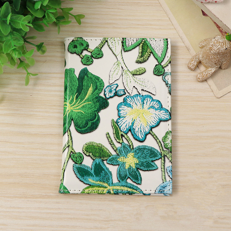 1PC Multifunction Vintage Embroidered Flower Passport Case Passport Cover Traveling Portable Air Tickets Visiting Card Holder