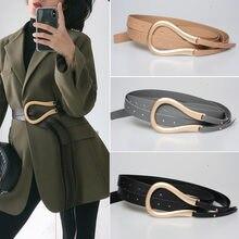 Deat 2021 nuove cinture da donna di moda cerchio in metallo fori in pelle PU cintura a tracolla larga WK24116a