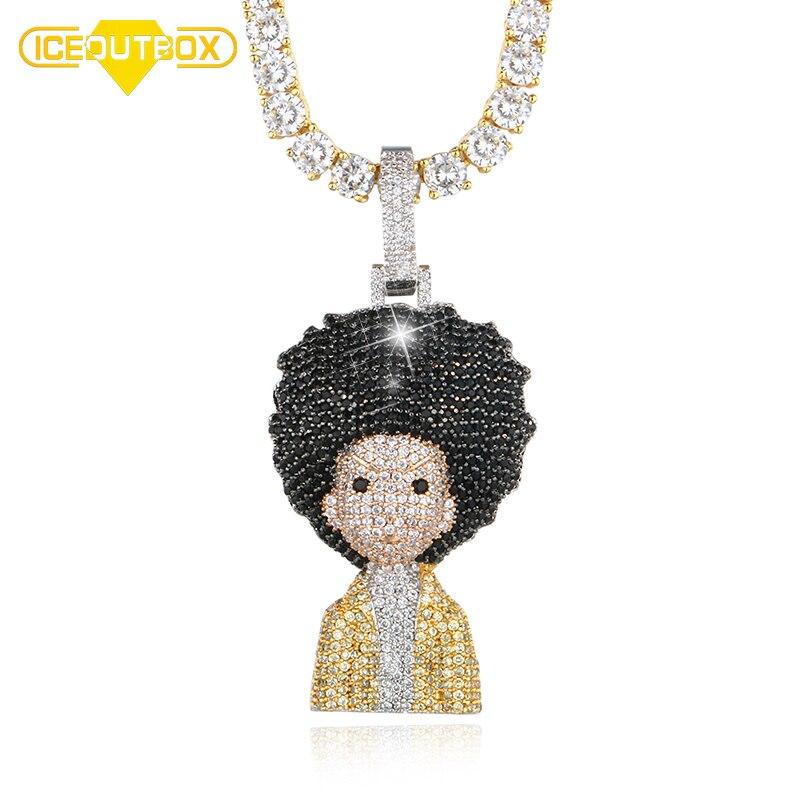3 Style chaîne les Boondocks pendentif collier pour hommes femmes corde cubaine Tennis chaîne Bling cristal mode bijoux livraison directe
