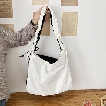 Women's Bag Korean Art Canvas Bag Drawstring Wide Shoulder Strap Messenger Bag Female Student Shoulder School Bag 1