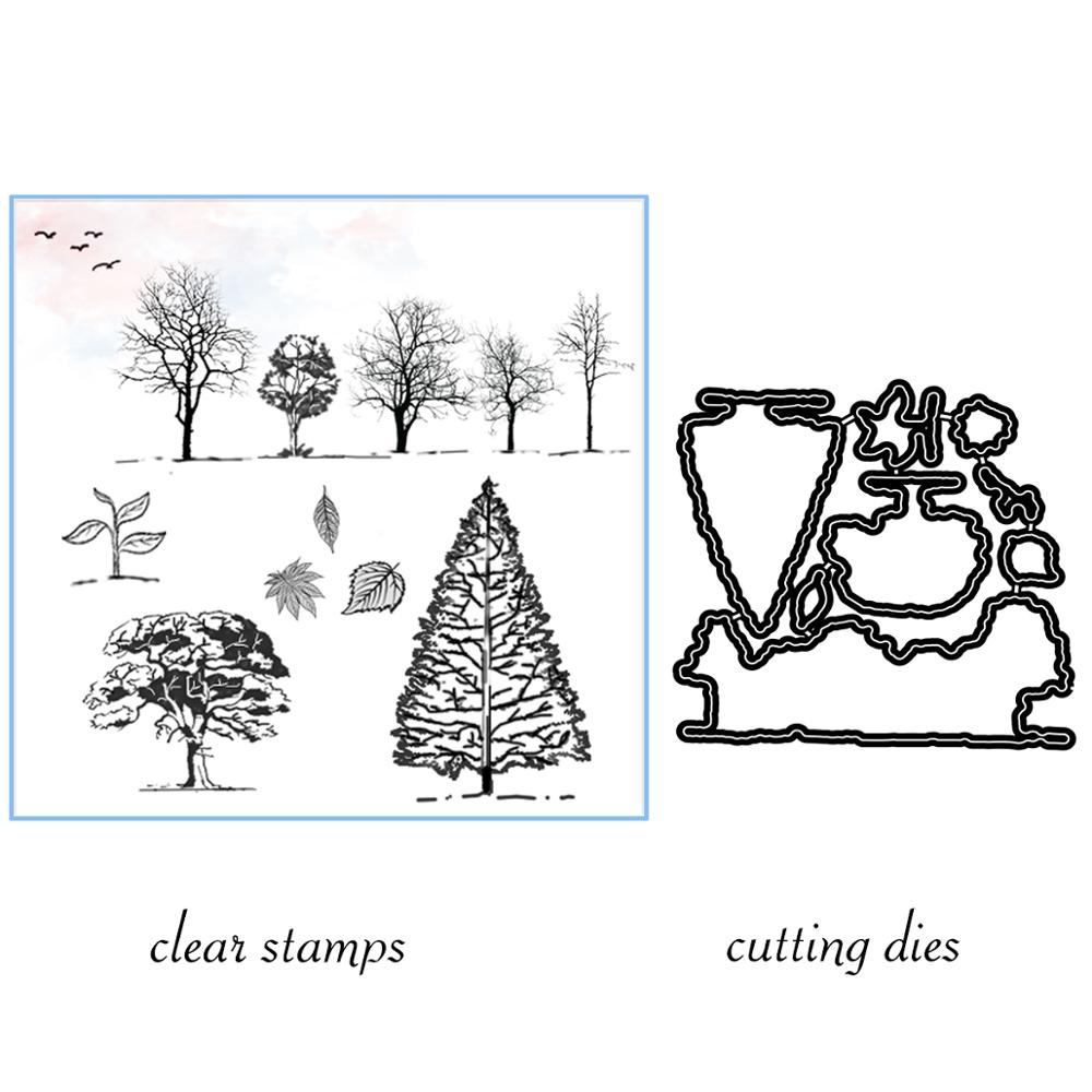AZSG Gorgeous Scenery Tree Cutting Dies Clear Stamps For DIY Scrapbooking/Card Making/Album Decorative Silicone Stamp Crafts