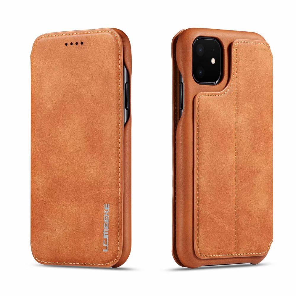 Capa de couro genuíno flip para iphone 11 pro max xs 10 s max xr x 8 7 6 s plus caso slot para cartão magnético suporte capa fundas