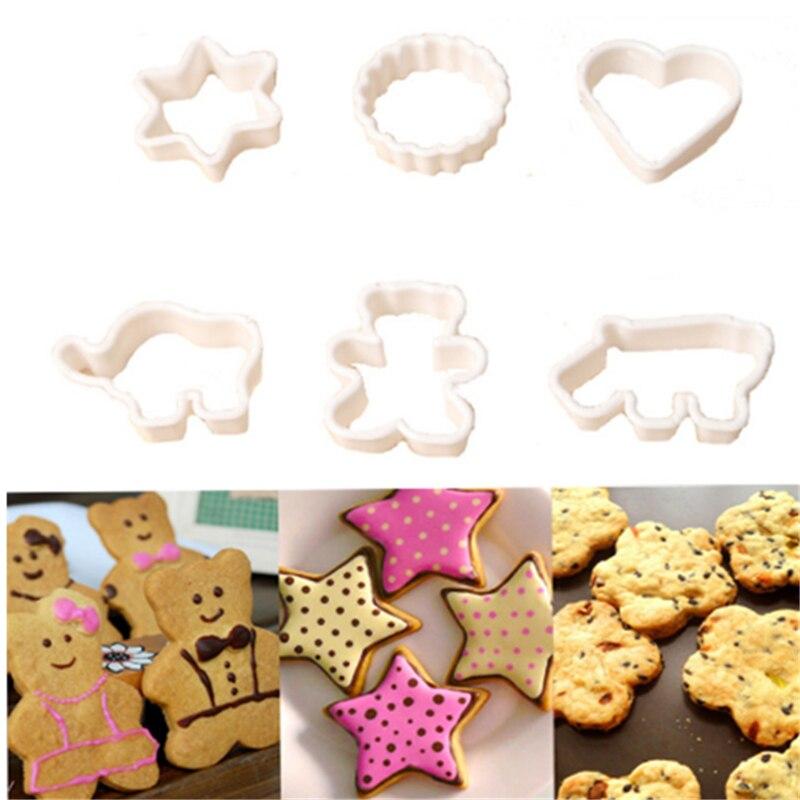 Topbaking 6PCS Plastic Cookie Sugar Crafts Mold Cartoon Animal Cake Moulds Pineapple Cake Kitchen Baking Mould