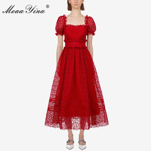 MoaaYina High Quality Women Red Lace Dress Polka Dot Short Puff Sleeve Square Neck Lady Party Fashion Summer Midi