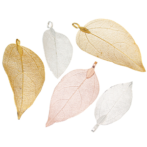 2pcs/lot 3x5cm Rose Gold Silver Color Hollow Filigree Leaf Vein Pendants fit Necklace Choker DIY Jewelry Making Findings
