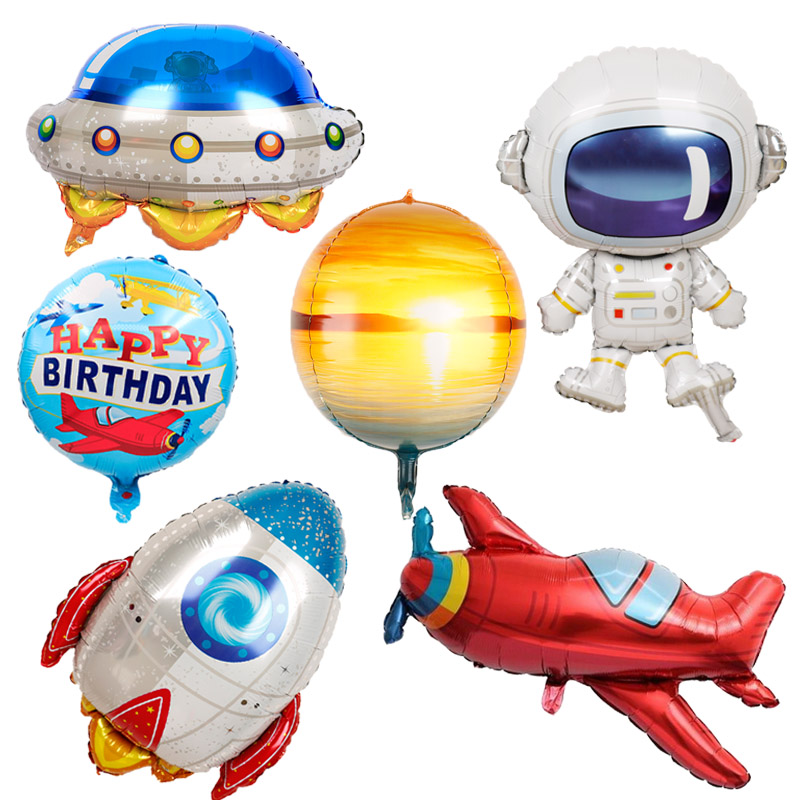 1pc Baby Boy Airplane Foil Balloons Astronaut Globos Rocket UFO Aircraft Balls Birthday Party Decorations Kids Outer Space Toys