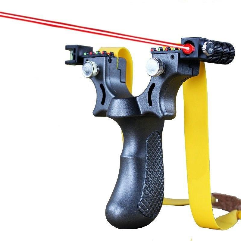Новая смола Рогатка катапульты с плоской резиновой лентой для охоты на открытом воздухе стрельбы рогатки лазера прицеливания рогатки
