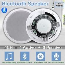 """Home 4pcs Bluetooth Wall In Ceiling Speakers Full Range 5.25"""" Loudspeakers Stereo Audio Speaker Bathroom Store Hotel Loudspeaker"""