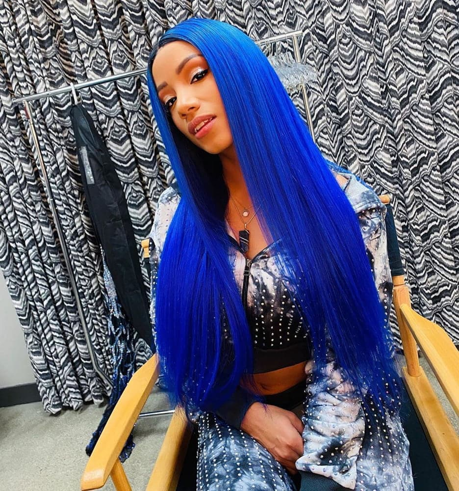 DLME  Blue Lace Front Wigs for Women Glueless Long Straight Blue Synthetic Wig  Cosplay For Party Heat Resistant  Fabier Hair