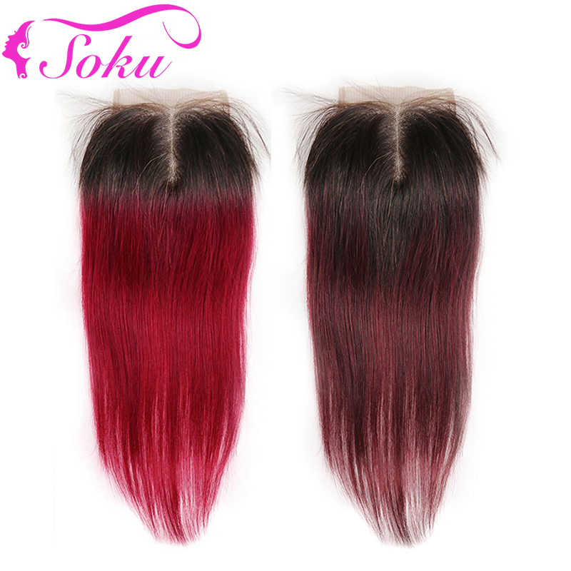 4x4 Lace Closure SOKU Free/Middle Part Swiss Lace Closure 100% Brazilian Straight Ombre Human Hair Closure Non-Remy SOKU