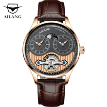 AILANG Tourbillon Moon Phase Mechanical Watches Men Top Brand Luxury Automatic Luminous Waterproof Hollow GMT Watch Male Clock ailang blue luxury watch men automatic stainless steel watch male moon phase and calendar business mechanical watches a043