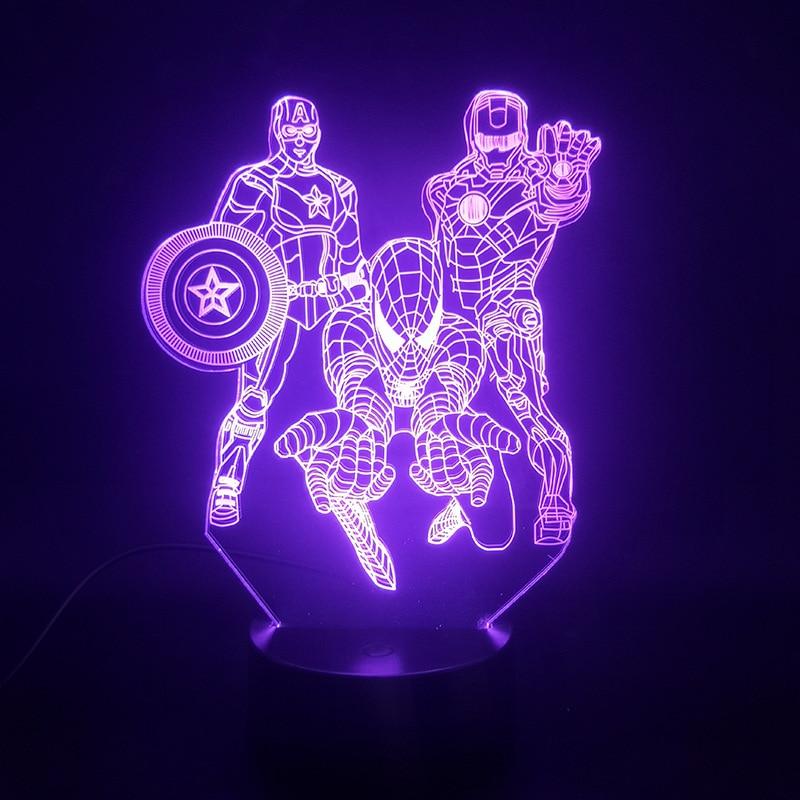 Marvel Ironman 3D Night Lights Anime Figures Spiderman America Captain Action Figma Touch Sensor Model Desk Led Decoration Doll