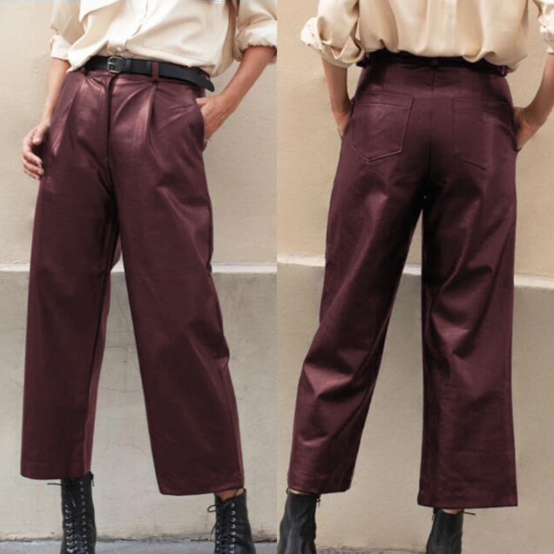 Women's Wide Leg Trousers ZANZEA 2020 Elegant Faux Leather Pants Casual Button Zip Long Pantalon Female Black Plus Size Turnip 7