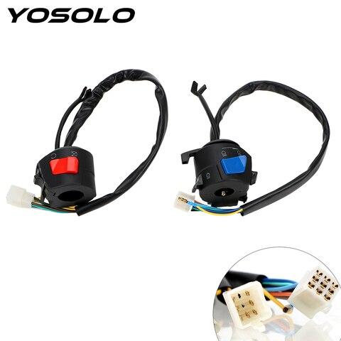 yosolo controle eletrico universal para motocicletas 1 par controle de iniciar interruptor de guidao buzina