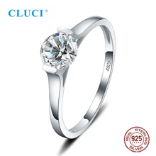 цена на CLUCI 925 Sterling Silver Simple Zircon Wedding Rings for Women Tension Mount Silver Valentine Day Gift Ring