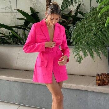 Spring New Blazer DressTurn-down Collar Belt Coat Casual Women Pink Long Sleeve Pocket Jacket Single Suit 2021 Female Clothes 1