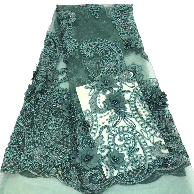 2020 Fashion Latest Arrival African Lace Fabric With Sequins Embroidered 3D Flower Soft Swiss Voile French Lace Fabric 5 Yards