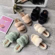 Natural Sheepskin Winter Warm Fur Slippers Women Home Shoes Indoor Slip