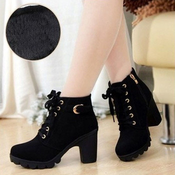 Winter Women Ankle Boots High Chunry Heel Fur Plush Rubber Platform Metal Buckle Zipper Punk Sexy Black Ladies Shoes Botas Mujer