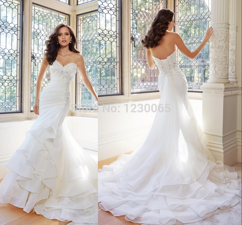 Free Shipping Ruffles Sweetheart Romantic Bridal Boda 2015 Casamento Beading Vestido De Noiva Sexy Mermaid Wedding Dress Bride