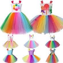 Детское платье для девочек, Радужное платье конфет, детское платье для моделирования леденцов, костюмы для маленьких девочек с единорогом, ...