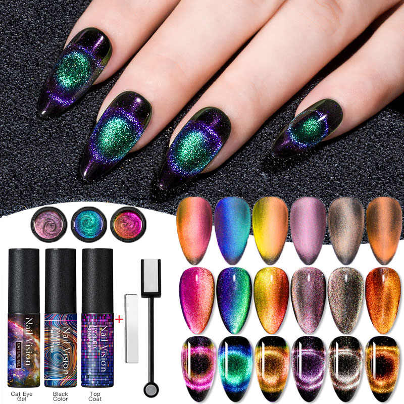 9D Chameleon Magnetic Cat Eye Gel Nail Polish Tahan Lama Bersinar Laser Mata Kucing Rendam Off UV LED Nail Art gel Varnish Lacquer