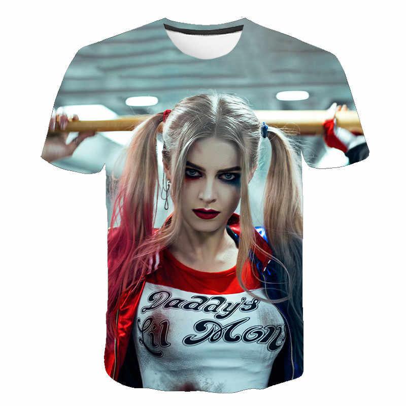 Niềm Vui Mới Nữ Chú Hề Áo Thun Nam Và Áo Sơ Mi Nữ Cao Cấp 3D Bông Tai Kẹp Hoạt Hình Harley Quinn Áo Thun Tự Sát Áo Sơ Mi