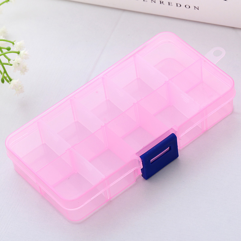 10 Grids Plastic Box Adjustable Jewelry Box Beads Pills Nail Art Storage Box Organizer for the office housekeeping organization