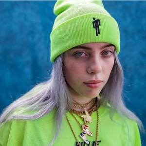 Beanie Hat Billie Eilish Knitted Women Warm Casual Solid for Hip-Hop Cuffed Embroidery