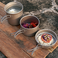 Keith Camping Pot Set Outdoor Camping Hiking Titanium Cookware Portale Tableware Cooking Travel Cutlery Utensils Pot Pan Ti6014