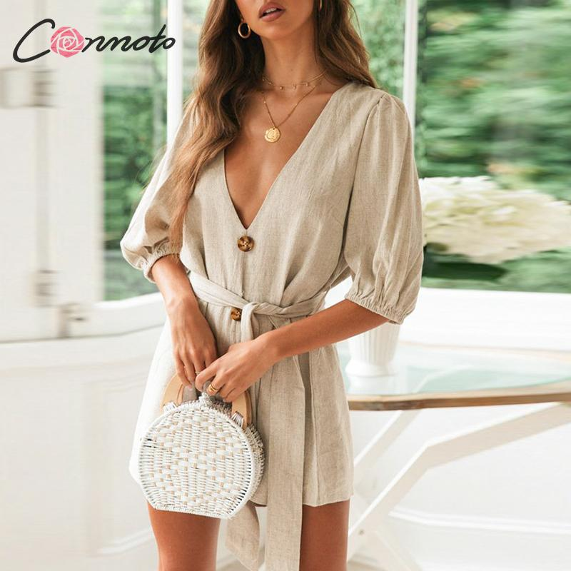 Conmoto Women 2020 Summer Solid Color Rompers Deep V Casual Beach Holiday Short Jumpsuit Female Fashion Lantern Sleeve Jumpsuit