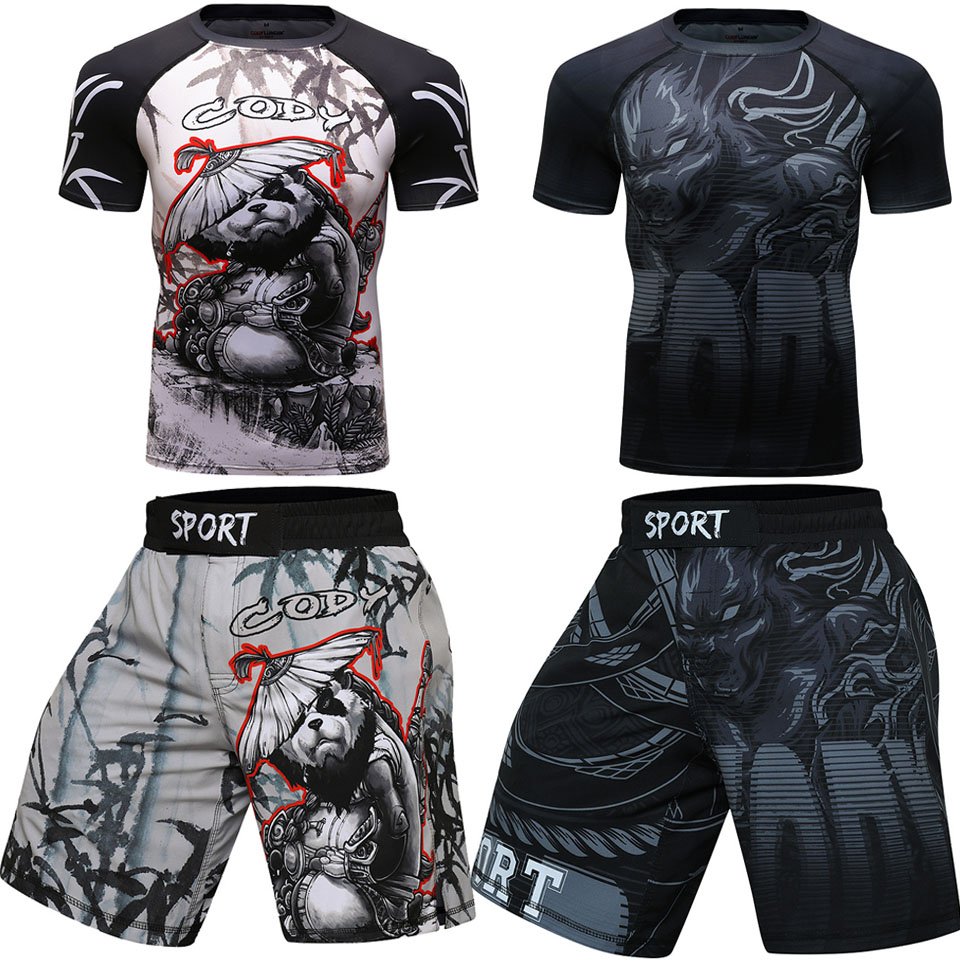 MMA BJJ GI Rashguard T Shirts+Muay Thai Shorts Rash Guard Clothing Tracksuit Boxing Jerseys MMA Compression Men Kickboxing Set image