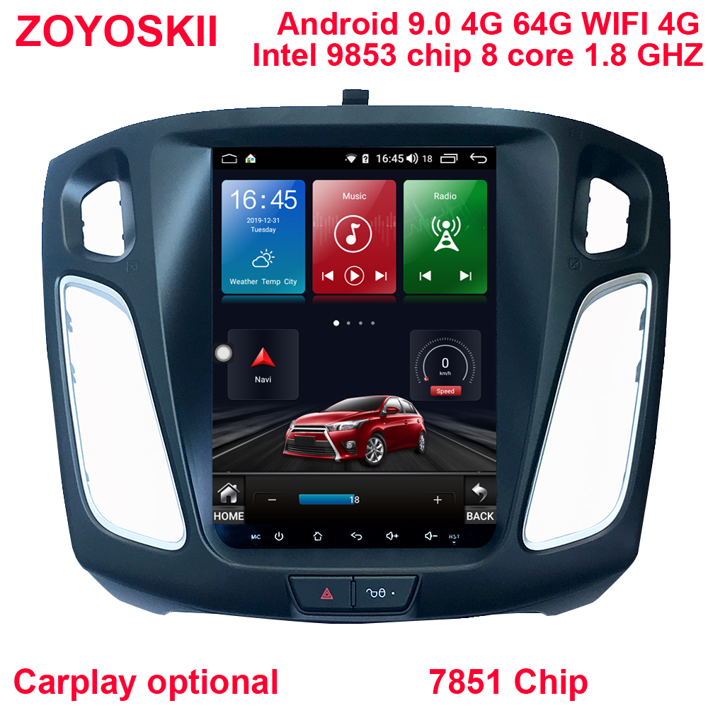 ZOYOSKII Android 9.0 10.4 Inch IPS Vertical Screen Car Gps Multimedia Radio Navigation Player For Ford Focus 3 Salon 2012-2018