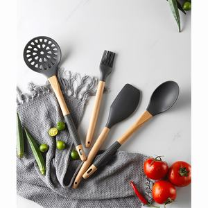 Image 4 - Kitchen Utensils Set 11Pcs Silicone Non stick Cooking Utensils Set with S Shaped Metal Hook Wooden Handle Kitchenware Set