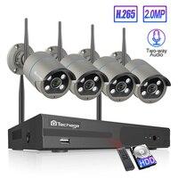 Techage H.265 4CH 1080P Wireless NVR Kit CCTV Security System 2MP Audio Sound Outdoor Wifi IP Camera P2P Video Surveillance Set