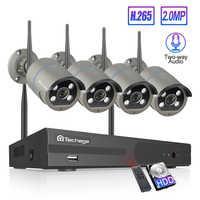 Techage H.265 4CH 1080P Wireless NVR Kit Wifi CCTV Sicherheit System 2MP Audio Sound Outdoor Ip-kamera P2P Video überwachung Set