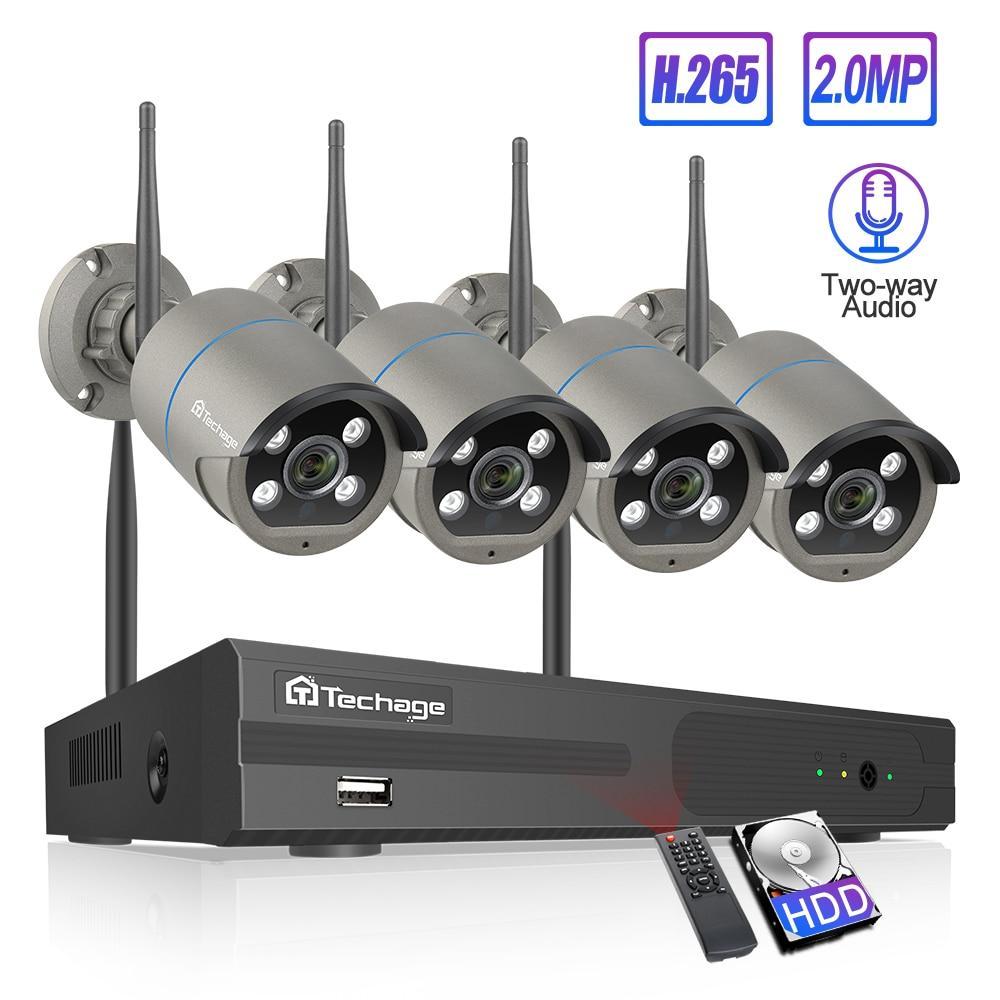 Techage H.265 4CH 1080P sans fil NVR Kit Wifi système de sécurité CCTV 2MP son Audio caméra IP extérieure P2P ensemble de Surveillance vidéo