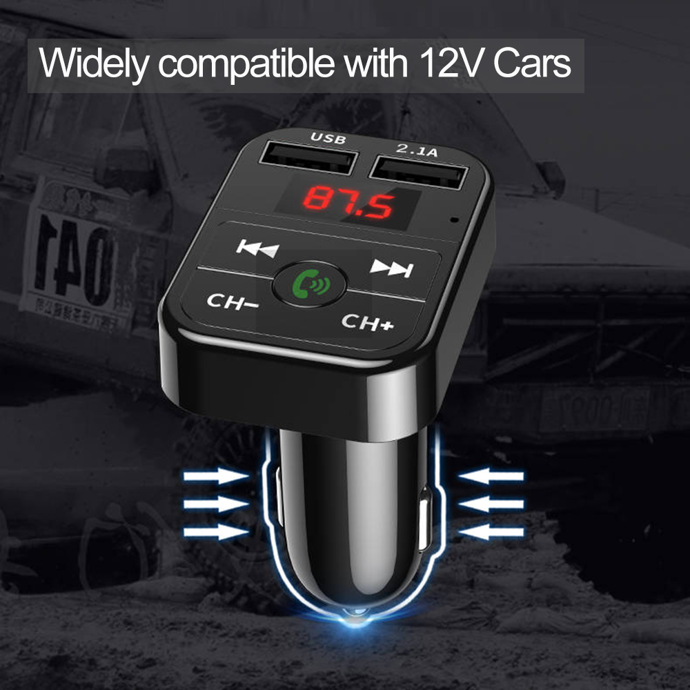 Car Bluetooth with Mp3 Player FM Transmitter Audio Receiver  Dual USB Fast Charger  5