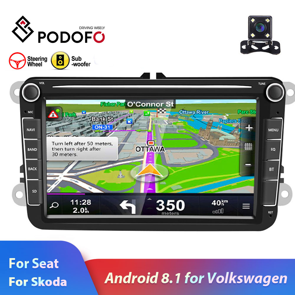 Podofo 2din car radio Android 8.1 For VW/Volkswagen/Golf/Polo/Passat/b7/b6/SEAT/leon/Skoda 8 inch 2 DIN GPS Wifi SD auto stereo  - buy with discount