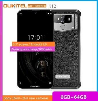Перейти на Алиэкспресс и купить Смартфон OUKITEL K12, 10000 мАч, быстрая зарядка 5 В/6 А, FHD + большой экран 6,3 дюйма, Android 9,0, Восьмиядерный, мобильный телефон 6 ГБ 64 ГБ