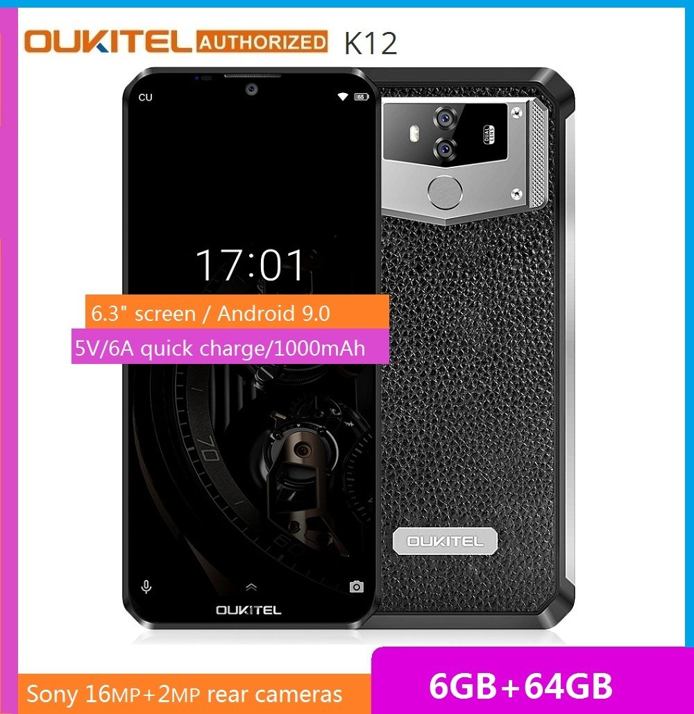 """OUKITEL 10000mAh 5V/6A Quick Charge Smartphone K12 6.3"""" FHD+ Big Screen Waterdrop Android 9.0 Octa Core Mobile Phone 6GB 64GB"""