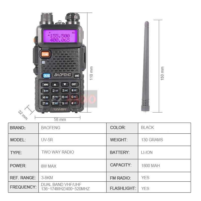 Baofeng UV 5R Walkie Talkie 10KM UV5R CB Radio Receiver Station Two-way Walkie-talkies 4PCS 2PCS Powerful UV-5r  UV 82 UV 9R dmr