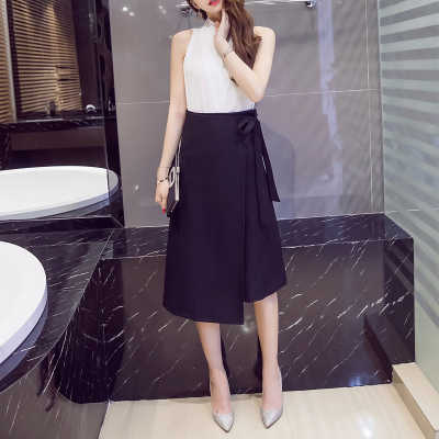Новая женская юбка большого размера 2019 Весна Лето Асимметричный бант Высокая талия миди юбка элегантная Сексуальная офисная работа юбка WR802