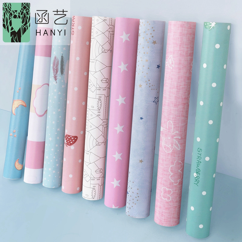 DIY 10m*45cm Nordic Waterproof Cartoon Self-adhesive Wallpaper Shop Bedroom Dormitory Male And Female Dormitory Bedroom Warm